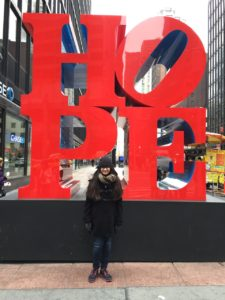 Me with one of the attraction on the sidewalks of Time Square.
